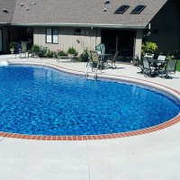 Pool deck brick edge cream coating