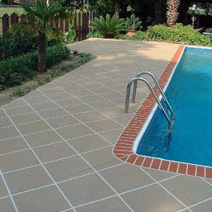 Pool deck brick edge diagonal pattern tan