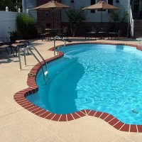 Pool deck brick edge tan coating