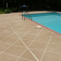 Pool deck brick edge tan diagonal