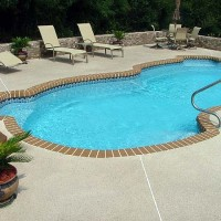 Pool deck brown brick edging