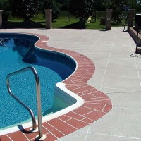 Pool deck large brick edging cream coating