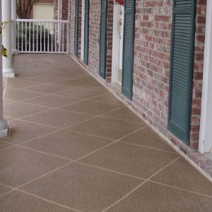 front porch with large diagonal pattern