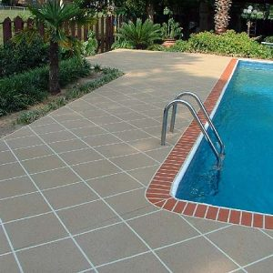Acrylic Spray Pool deck brick edge diagonal pattern