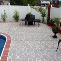 Pool deck brick edging octagon pattern